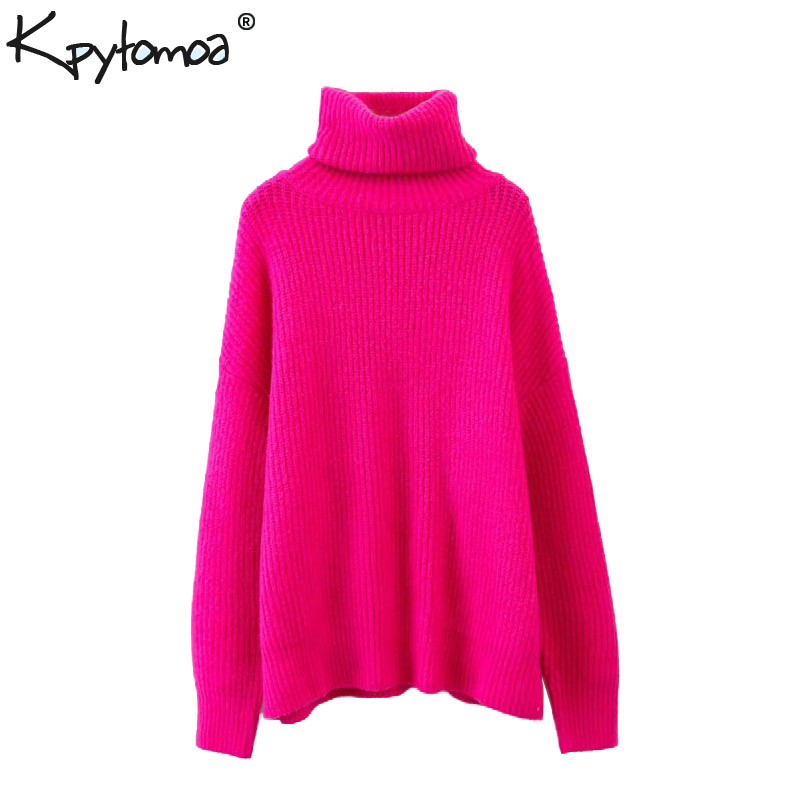 Vintage Stylish Oversized Knitted Sweater Women 2019 Fashion Turtleneck Long Sleeve Loose Ladies Pullovers Casual Pull Femme