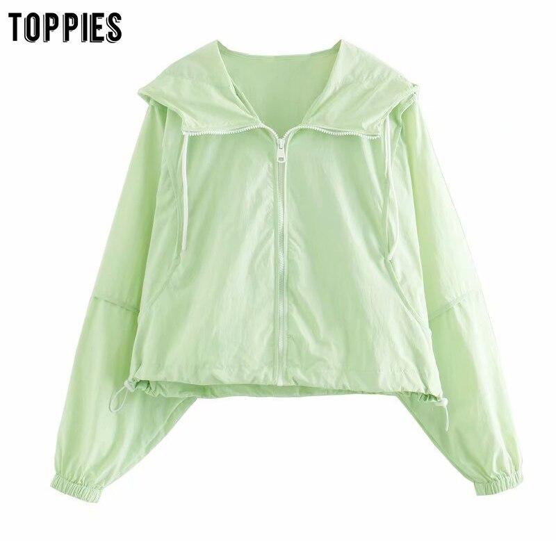 Toppies 2020 Summer Green Short Jacket Coat Women Zipper Hooded Jackets Girls Fashion Streetwear
