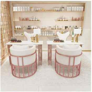 Luxury manicure table and chair set single and double triple gold wrought iron marble manicure set online celebrity economical
