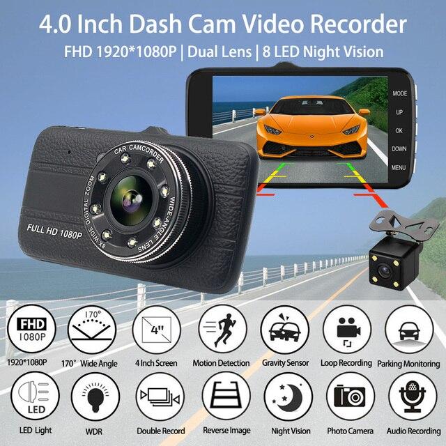 "4.0""Dash Cam New Dual Lens Car DVR Camera Full HD 1080P  Front+Rear Camera Video Registrars G Sensor Night Vision Dash Cam"