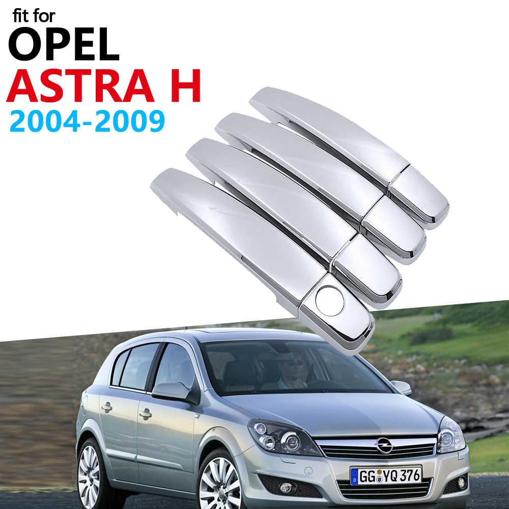 Luxueux Chrome poignée couvercle garniture ensemble pour Opel Astra H 2004 ~ 2009 Vauxhall Holden famille accessoires voiture autocollants 2008 2007 2006