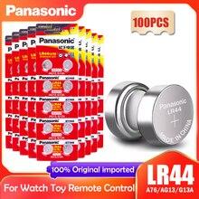 100 шт. Panasonic LR44 LR 44 A76 AG13 1,5 V кнопочный элемент монета G13A LR44 LR1154 SR1154 357A SR44 SR44SW SR44W GP76 игрушечный Аккумулятор для часов