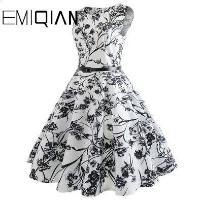 Image 4 - Fashion Women Floral Print Sleeveless Party Dress Simple Knee Length Print Graduation DressHomecoming Dresses   -
