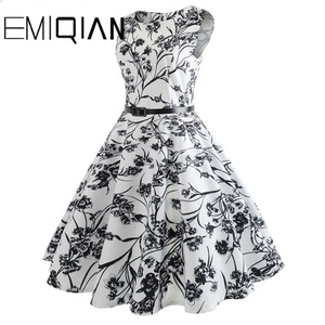 Image 4 - Fashion Women Floral Print Sleeveless Party Dress Simple Knee Length Print Graduation Dress
