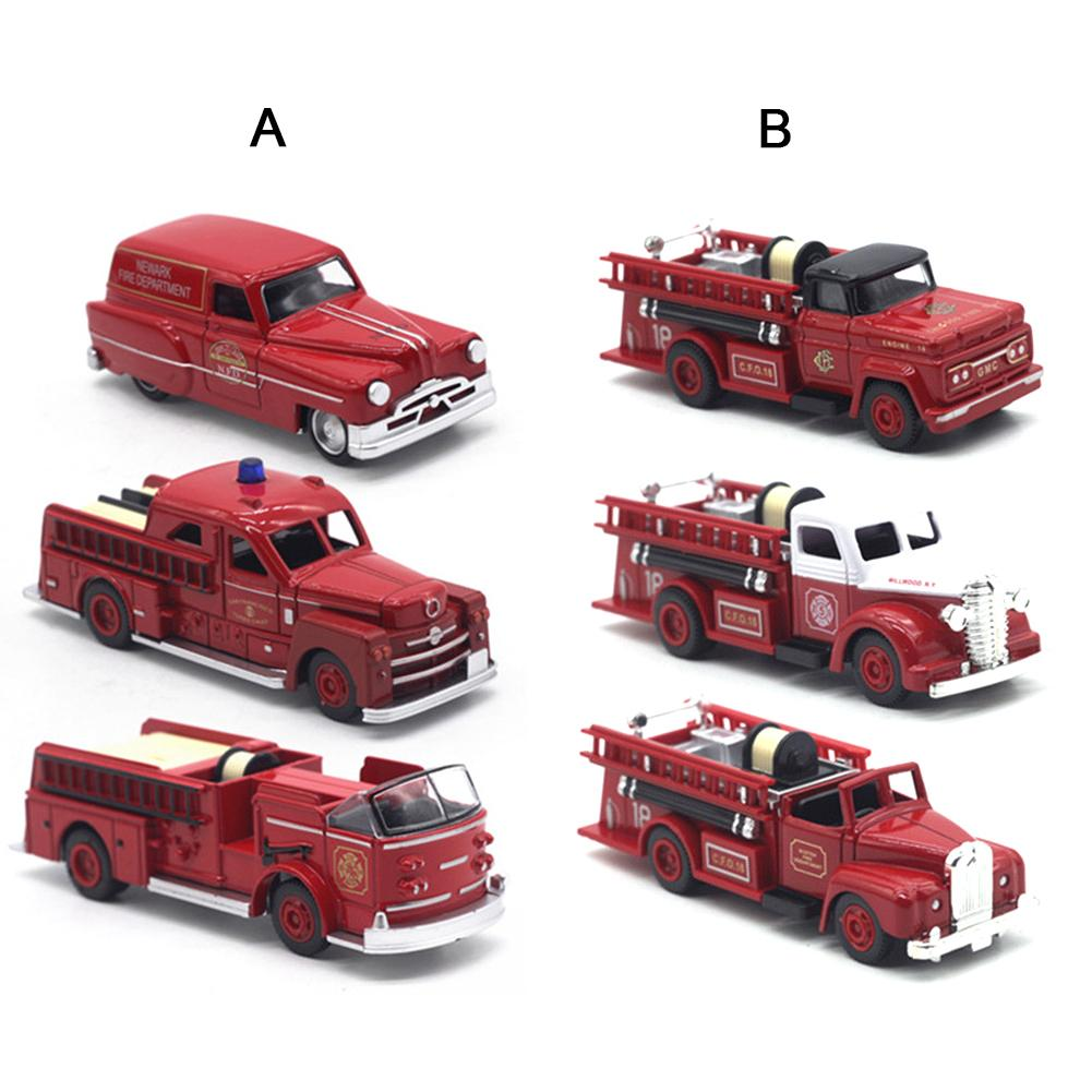 3PCS Truck Toy Fireman Fire Truck Car Educational Toys Boy Kids Toy Gift Retro Fire Truck Model Cars Kids Boy Kids Toy Gift