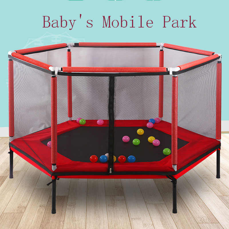 New Children Trampoline Parent-child Interactive Game Trampoline With Safety Net Children Indoor Playground Baby's Mobile Park