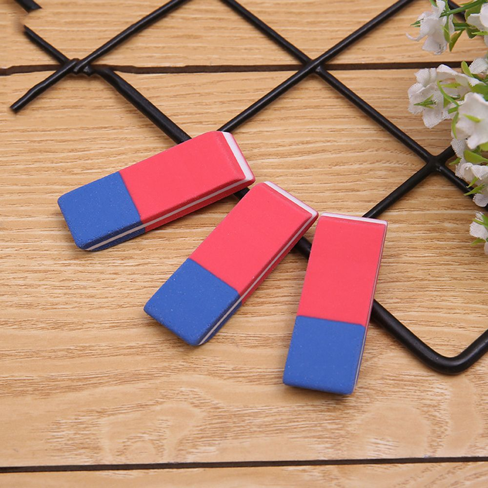 3Pcs/Pack  Red And Blue Matte Learning Eraser Student Pencil Eraser Korean Creative Stationery School Office Supply