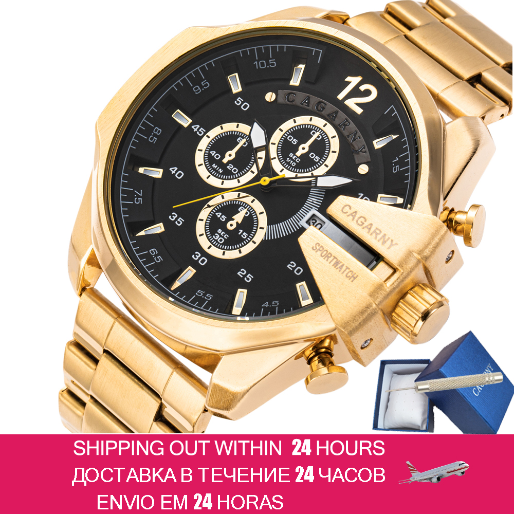 Mens Watches Top Brand Luxury Gold Steel Quartz Watch Men Cagarny Casual Male Wrist Watch Military Relogio Masculino Dropship