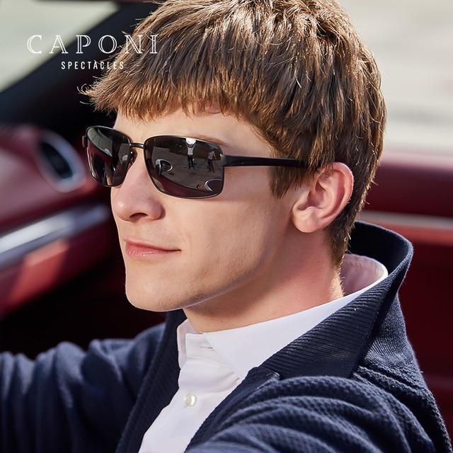 CAPONI Polarized Sun Glasses Men Square Style Titanium Frame Shades For Male Vintage Fashion Black Designer Sunglasses CP9008 1