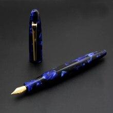 Stylo plume de mer bleu résine personnalisée avec plume Schmidt #5 F et école de bureau de papeterie Schmidt convertisseur