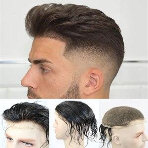 Image 1 - Peluca de cabello humano brasileño para hombre peluquín de aspecto Natural con encaje suizo completo, reemplazo de Peluca de cordón, Remy