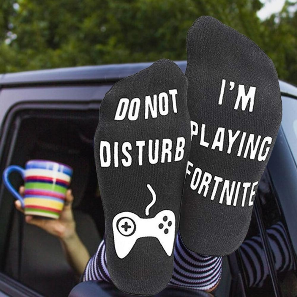 Do Not Disturb I'M Playing Funny Socks Personal Style Short Long Socks Unisex Gaming Printed Letter Soft Cotton Casual