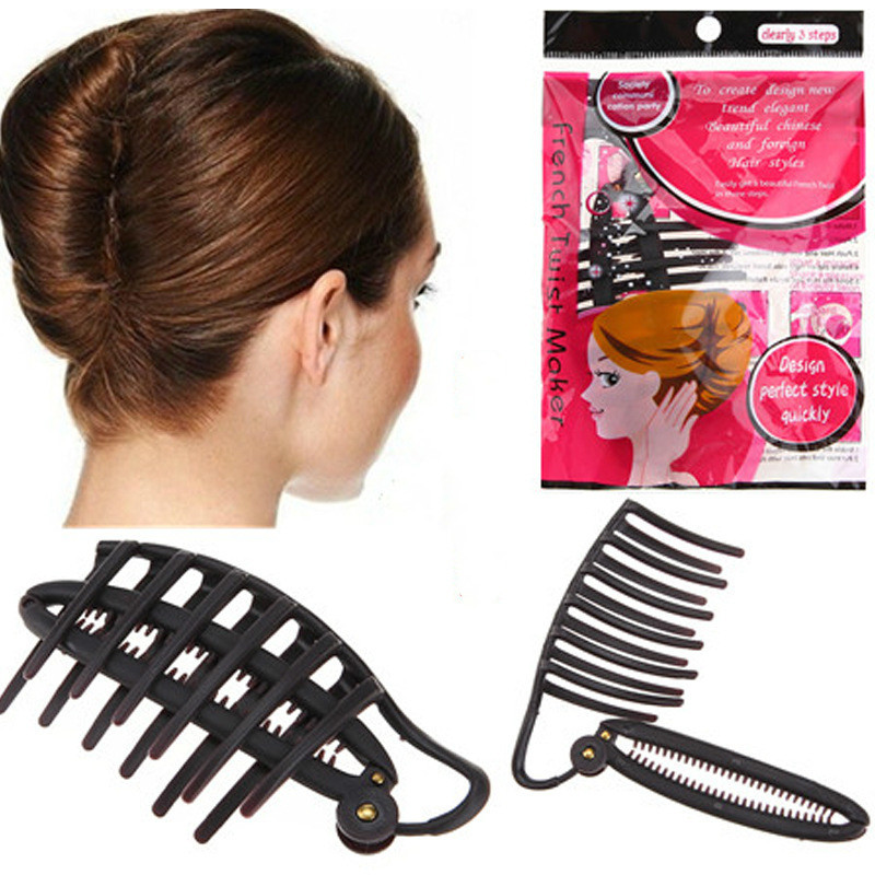 Disc Hair Hairdressing Fashion Disc Hair Clip For Wedding Bun French Twist Maker  Women Evening Party Hair Moldling Accessories