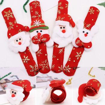 1 Pcs Christmas LED Light Patted Circle Bracelet Gifts Ring Children's Year Party Snowman Snap Wrist Elk Santa New Toys N5T3 image