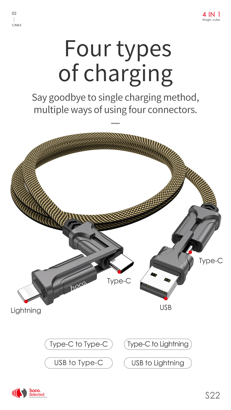 HOCO 4in1 USB Type C Cable 60W Metal PD Fast Charger Cable USB C to Type C Wire for Samsung Xiaomi iPhone11 MacBook Pro Air iPad