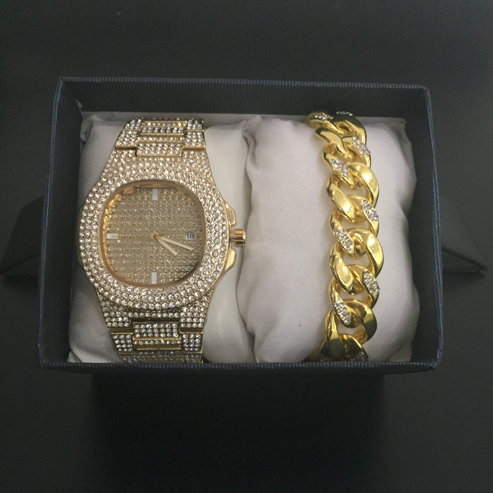 Luxury Men Gold Silver Diamond Watch+Diamond Bracelet Combo Set For Men Fashion Ice Out Cuban Watch Men Top Brand Hip Hop Watch