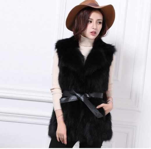 2019 Vetement de invierno de las mujeres abrigo de piel sintética de vuelta-abajo Outcoat gran peludo Lolita Estilo Chaleco Furrry chaqueta AW329