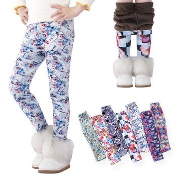 VEENIBEAR Thick Warm Girls Pants Velvet Flower Print Leggings Kids Children Winter Pants 1