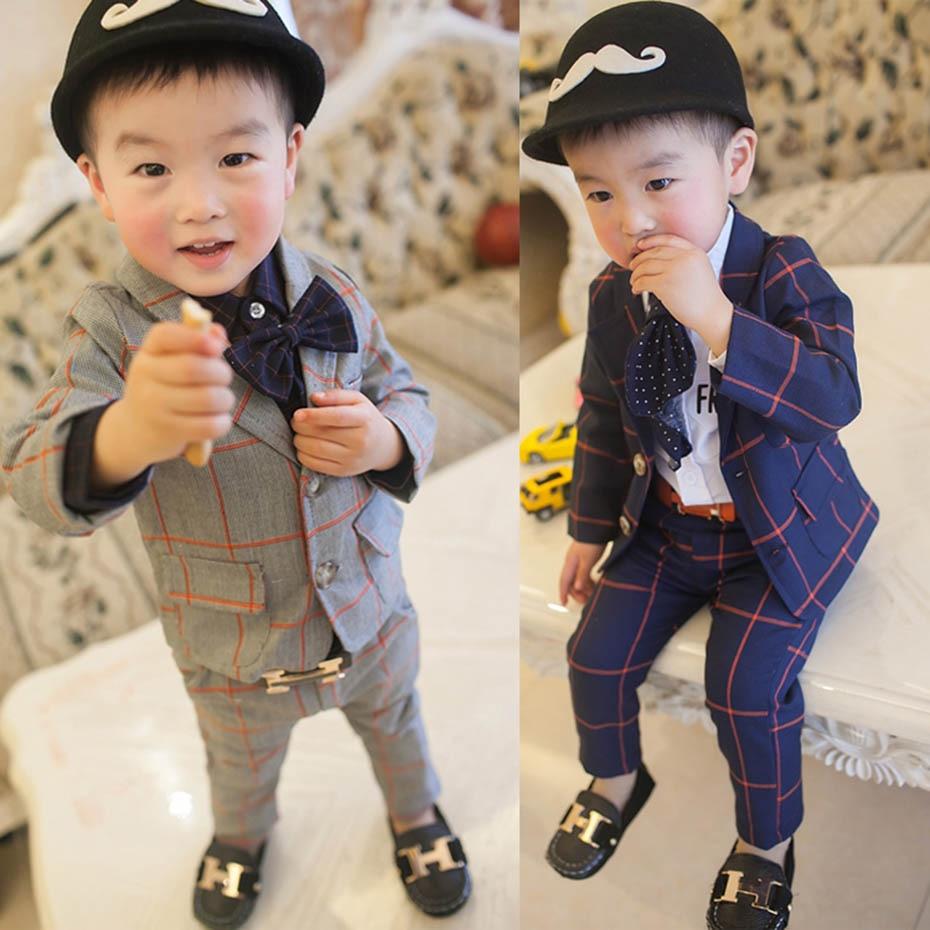Baby Boys Clothes Plaid Coat + Pants Boy Suit Set Casual Style Boys Clothes Casual Style Toddler Kids Suit Clothes 2