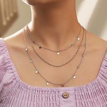 jewelry retro popular multi-layered necklace simple round bead heart pendant necklace(China)