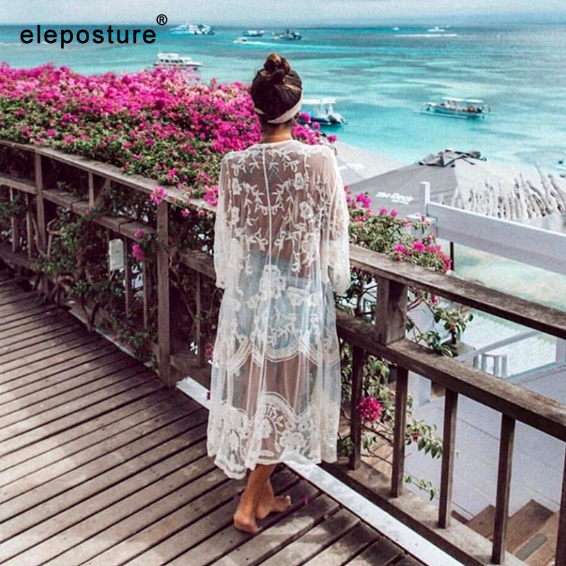 2019 Sexy Lace Embroidery Beach Cover Up Women Bikini Cover Up Long Beach Dress Tunics Swimsuit Bathing Suits Cover-Up Beachwear