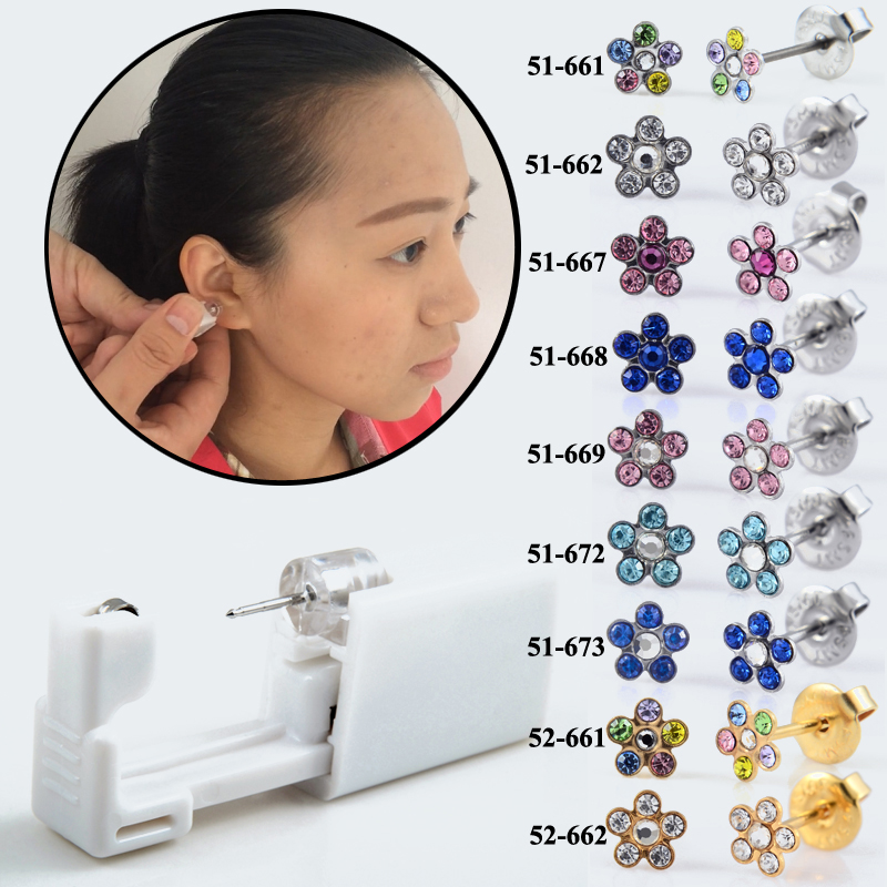 1PC Genenic Sterlised Disposable Safety Nose Ear Piercing Device+Sterile Bezel Crystal Stud Flower Body Piercing Jewelry Baby 40