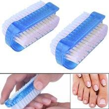Dupla face esfregando escova de unhas de arte macia remover a sujeira prático unhas manicure ferramentas cuidado pedicure lavar a mão limpeza de poeira