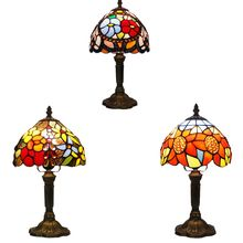Tiffany Table Lamp Color Glass Lamp Shade Resin Base Retro Mediterranean Style Table Lamp Bedroom Dining Room Art Desk Light(China)