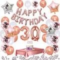 35 шт./компл. 30 День рождения украшения из розового золота 30 лет воздушный шар