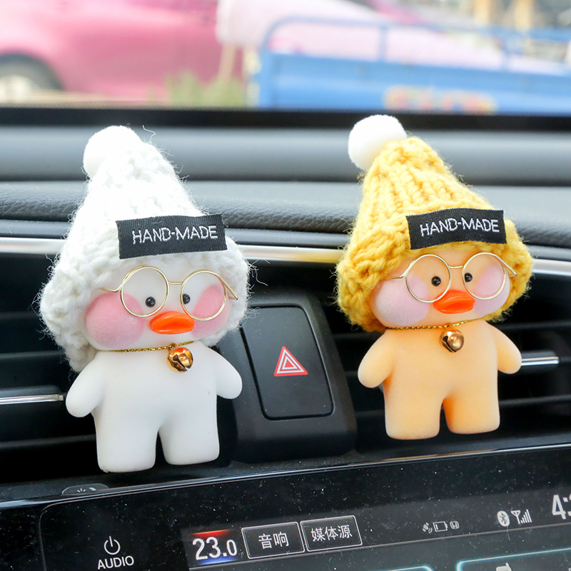 8cm Kawaii LaLafanfan Cafe Duck Toy Cartoon Cute Duck Car Decor Animal Dolls Girl Toys Birthday Gift For Children