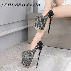 LEOPARD LAND-zapatos de tacón Sexy para mujer, calzado desechable de 22cm de alto y delgado, talla grande 45, MJL, novedad de 2020