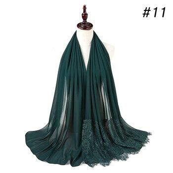 Woman Plain Buble Chiffon Lace Pearls Scarf Muslim Scarf Shawl Muslim Solid Color Lady Muffler