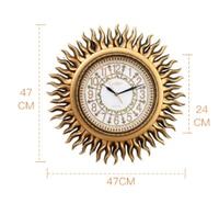 47*47cm Wall Clock Living Room Modern Fashion Mute Hanging Clock European Retro Decorative Manual Sun Shape Wall Digital Clock