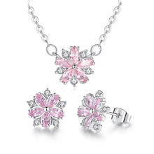 цены Romantic Jewelry Set Women Fashion Earrings Necklace Wedding Party Bridal Flower Shaped Jewelry Set