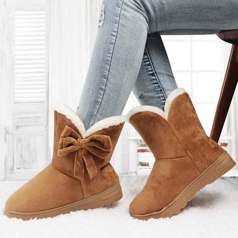 חורף נעלי נשים קרסול מגפי זמש שלג מגפי Bowtie עבה קטיפה פרווה פלטפורמת נעלי גבירותיי שחור Botines Mujer Invierno 2020