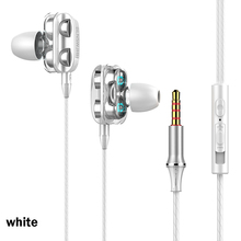 A4 Wired Earphones In-ear Double Driver HiFi Stereo Earphone 3.5mm Bass Wired Earbuds