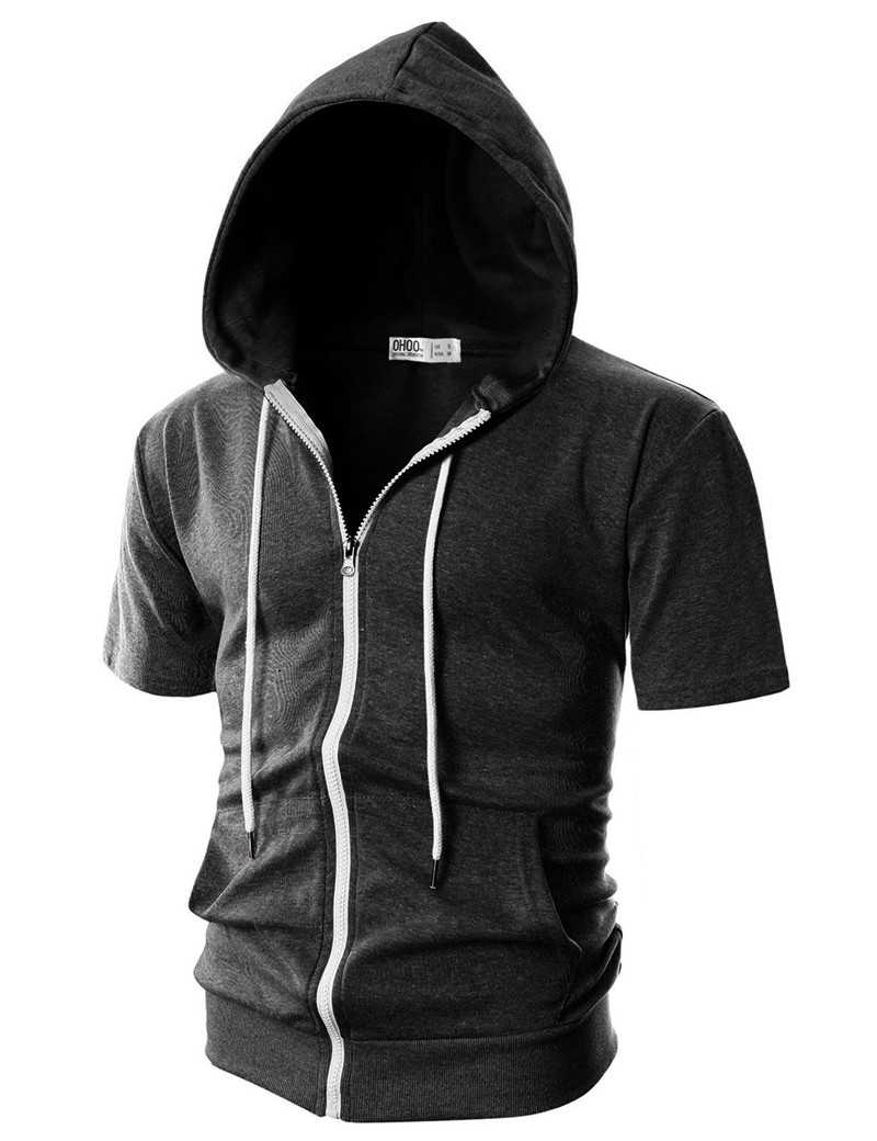 Summer Casual Mens Short Sleeves Hoodies Male Hooded Sweatshirts Cool Solid Color Men Sportswear Streetwear Tops Plus Size (4)