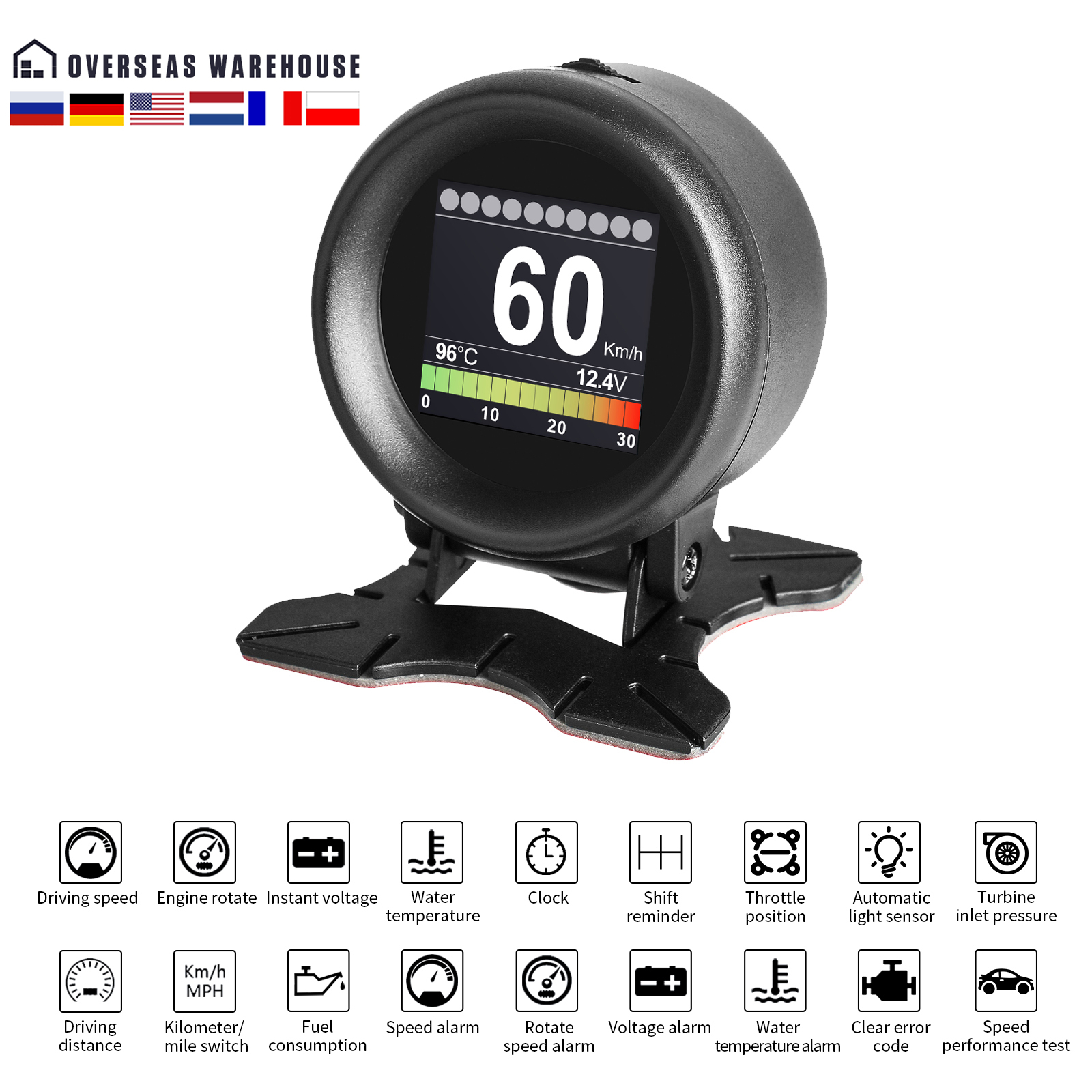 AUTOOL X60 HUD Head Up Display Car OBD Digital Meter Alarm Speed Water-Temp Digital Oil Temperature Gauge Pressure Gauge