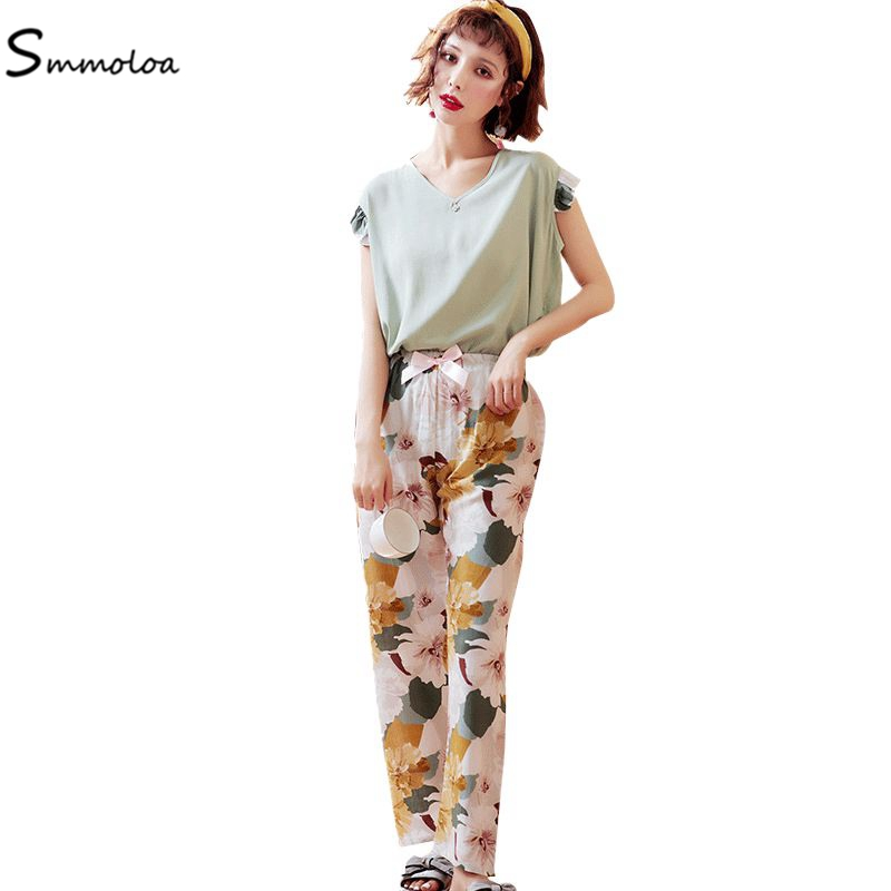 Smmoloa Summer Cute Print   Pajama     Sets   Women Silk Cotton Pijama Soft Sleepwear Women