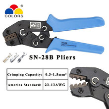 Colors SN-28B dupont crimping tool kit  crimping pliers terminal ferrule crimper wire terminals clamp kit tool sn 06 mini european style wire crimping pliers terminal clamp pliers 20 10awg wire crimping tool crimping plier 0 5 6mm2 page 6