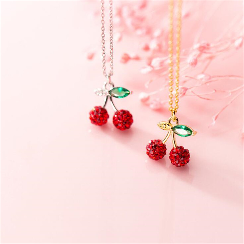 New Flash Full Of Crystal Red Small Cherry 925 Sterling Silver Jewelry Temperament Fruit Clavicle Chain Pendant Necklaces  H571