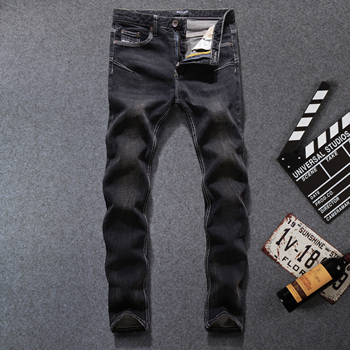 Black Color Denim Stripe Jeans Mens Pants  Brand Skinny Jeans Elastic Trousers Fashion Street Designer Men Jeans Plus Size orange button fly dsel brand fashion designer jeans men straight blue color printed mens jeans 100