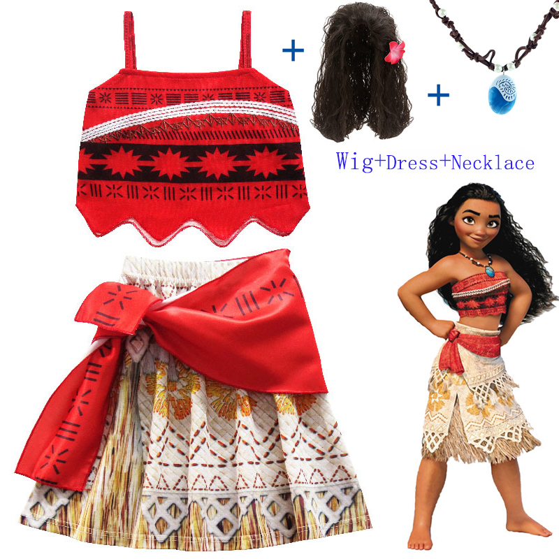 Baby Girl Clothes Cosplay Princess Dress Moana Children Vaiana Girl Party Halloween Dresses With Necklace Wig Christmas Costumes