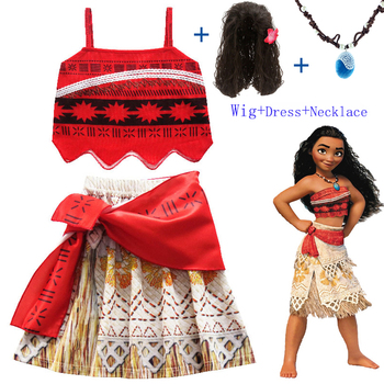 Baby girl clothes Cosplay Princess dress Moana Children Vaiana Girl Party Halloween dresses with Necklace Wig christmas Costumes 2017 kids girl trolls dress summer baby girl dress princess party girl dresses children girl clothes cosplay trolls costumes