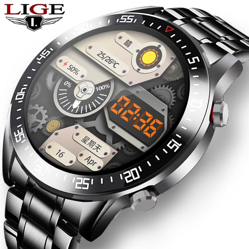 Новинка 2020, роскошные Брендовые мужские часы LIGE со стальным ремешком, фитнес-часы с пульсометром и тонометром, Смарт-часы для мужчин