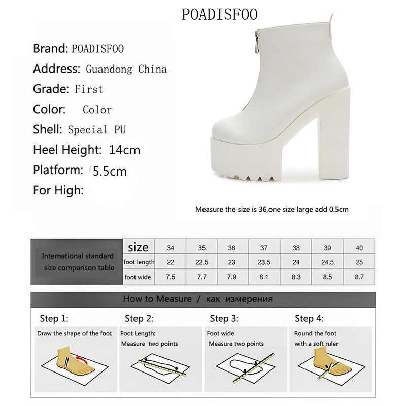 LTARTA Kadınlar Siyah Beyaz yarım çizmeler Süper Yüksek Topuklu Kare Topuklu Yuvarlak Ayak Çizmeler Zip zarif Parti Gece Kulübü ZYW-659-12
