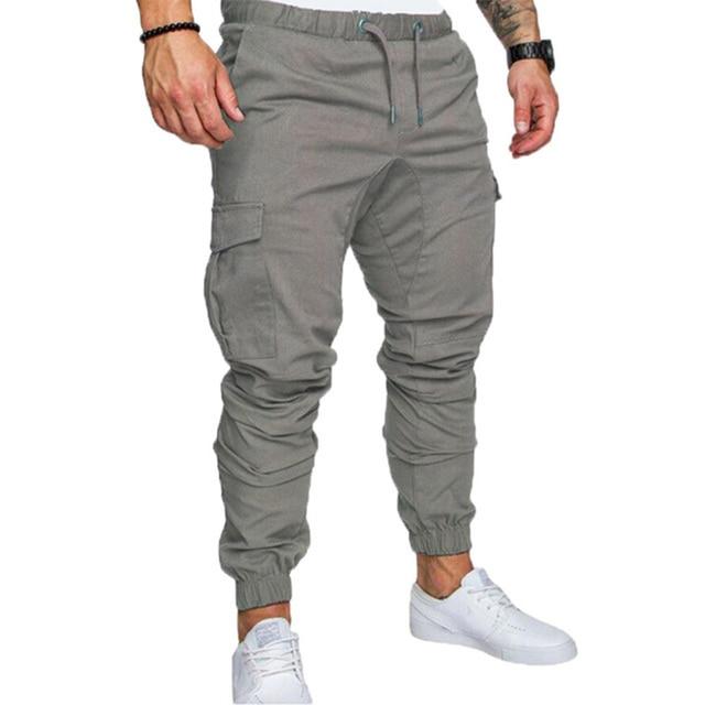 Hip Hop Joggers Pants New Male Multi-pocket Cargo Pants Skinny Fit Sweatpants 2