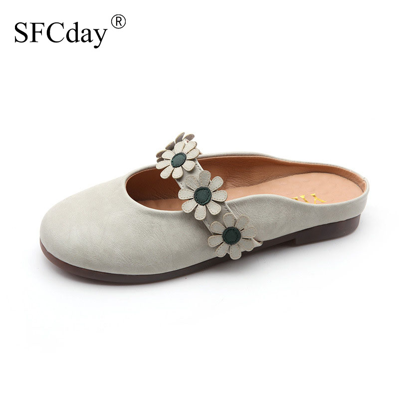 NEW 2020 Women Flat Slippers Slip on Female Summer Appliques Slides Fashion Sweet Flower Comfortable Ladies Retro Casual Shoes