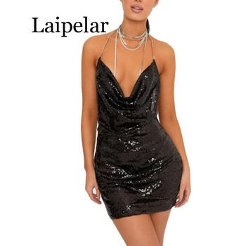 Dress Women Summer Party Fashionable ladies sequined necklace topless sexy mini dress new Bag Hip Nightclub female party Dress brown mesh sexy women s step skirt was thin bag hip dress h9349 women summer ladies sexy tube fancy slip slim fit dress