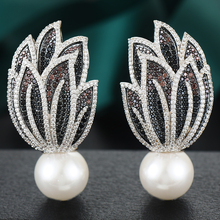 GODKI Luxury Trendy Leaf Big Earring For Women Wedding Party Imitation Pearl Cubic Zirconia Earring High Jewelry Addiction 2020